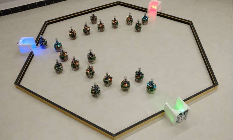 Robots working as a group are able to determine the optimal order of their tasks